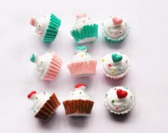 30pcs 18mm cupcake DIY Miniature Artificial Fake Food Cake Resin Cabochon for diy decoration