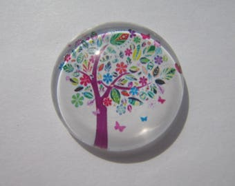 Cabochon tree of life 25 mm domed round multicolor