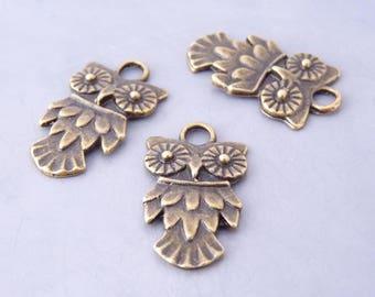 5 pendants OWL charms / OWL 19 x 10 mm - bronze (BP1403)