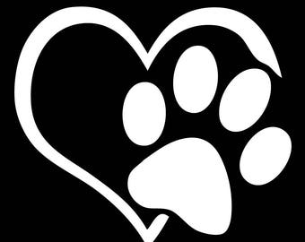 Paw and Heart Vinyl Decal