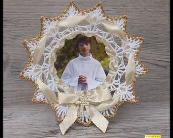 """10 door sweets """"plate"""" communion white and gold and Gold Ribbon"""