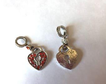 HEART red rhinestone key