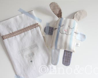 """DOUDOU """"LEO THE RABBIT"""" VERY CLEVER AND ITS MATCHING POUCH"""