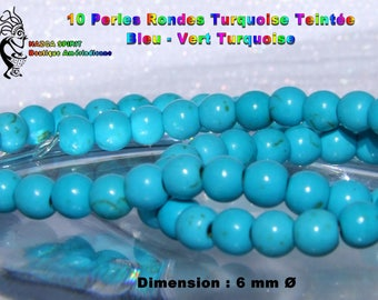 20 round beads 6 mm natural turquoise native blue-green Turquoise