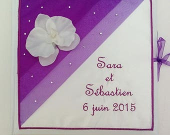Personalized and embroidered names - wedding guestbook guest book personalized