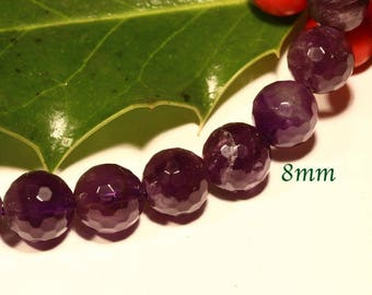 5 purple /prune diameter 8mm AA quality faceted Amethyst beads