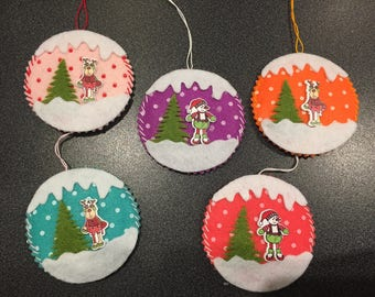 set of 5 ball Christmas to hang on the Christmas tree, Christmas decoration, unique handmade
