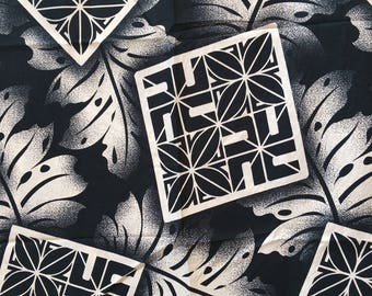 Polynesian fabric black and white patterned Maori and foliage