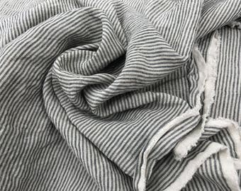 Pin Striped linen fabric , stonewashed linen, 100% pure linen from Lithuania, prewashed and softened linen fabric , all-purpose