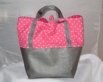Starry Tote faux glitter and cotton summer or beach - custom
