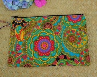 Small ethnic clutch, organizer bag handmade batik stylized Indian flower print