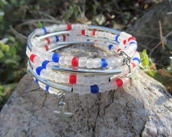 multi-row bracelet cuff large translucent, blue and Red seed silver stars