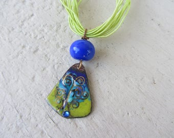 "crew neck copper enamel pendant ""tree of life"" and bead glass spun gold, lime green, turquoise, Royal Blue"