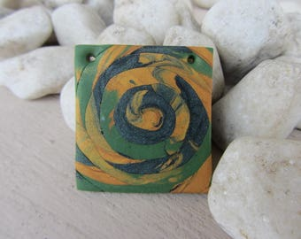 room for creation, pendant charm square green and gold spiral polymer clay