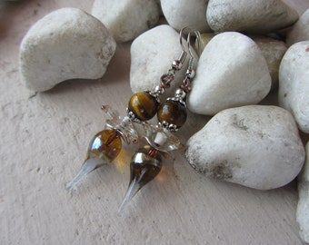 Earrings dangle charm drop Lampwork Glass, rondelle glass and silver metal, round stone bead fine silvery Brown Tiger eye