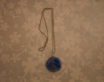 Necklace polymer clay blue and silver glitter, handmade /necklace