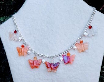 Silver plated butterflies carnelian and freshwater pearl necklace