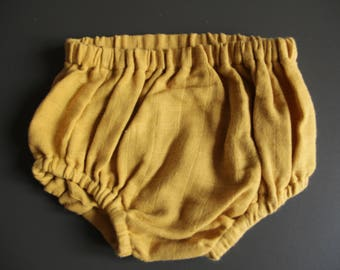 Bloomer for baby girl / boy in yellow organic Swaddle