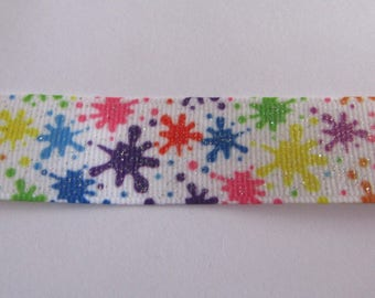 Ribbon 22mm wide multicolor grosgrain glitter