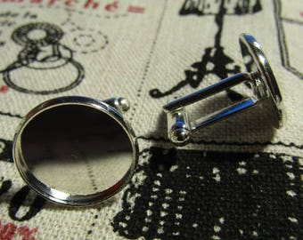 a pair of silver cufflinks to glue a 16mm diameter