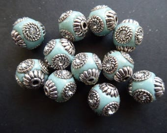 1 sky blue color 14 mm hole 2 mm Indonesian bead