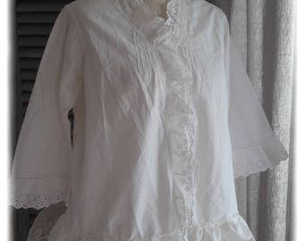 Jacket shabby chic cotton embroidery anglaise