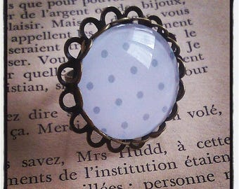 grey dots on brass cabochon ring