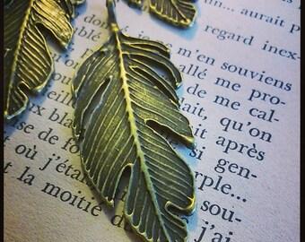 Bronze feather charm pendant 6 x 2.4 cm