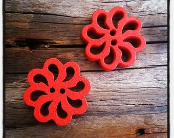 set of 2 fancy wood, rose, red flower buttons