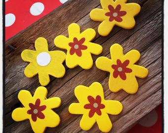 set of 6 flowers in wood Brown and yellow 40mm