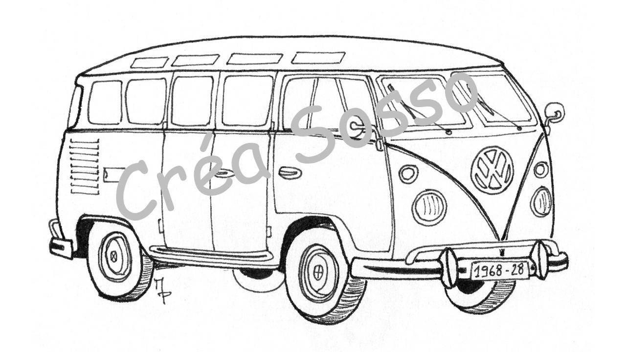 Porte cl s dessin voiture ancienne combi vw - Modele dessin voiture ...