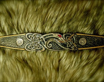 "Jewelry Bracelet ""Celtic bird"" Fantasy embossed grey/black/brown leather"
