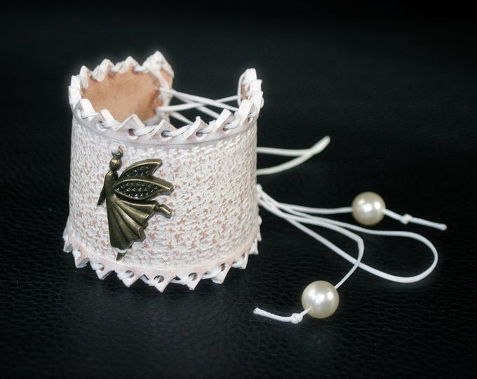Bracelet leather white cutout lace laced magic elven fairy dancing girl