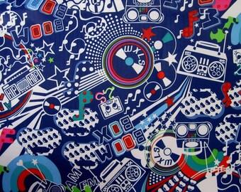 "ELECTRIC blue pvc coated fabric * waterproof * pattern ""DISCO"""