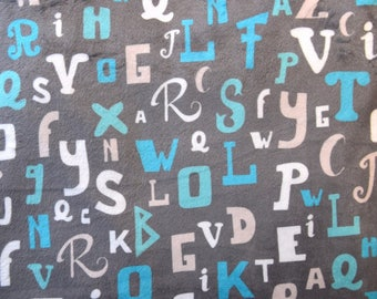 "Velvet gray printed ""Letters"" blue and white minkee fabric"