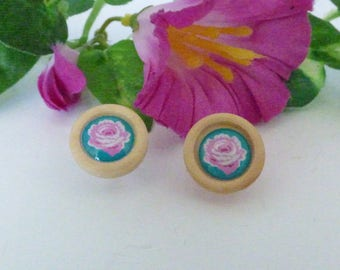 """ROUND WOODEN """"LES ROSES"""" EARRINGS"""