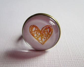 "Ring ""Precious love"", bronze, costume jewelry"