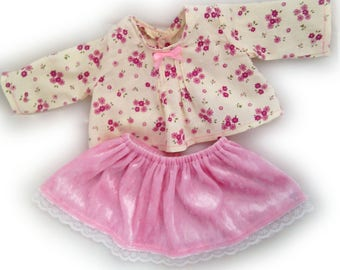 36 cm Doll clothing : pink lace skirt and blouse with flowers