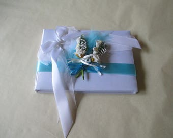 Guestbook wedding, turquoise and white (colors customizable)