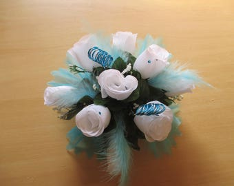 Table centerpiece, wedding, turquoise and white