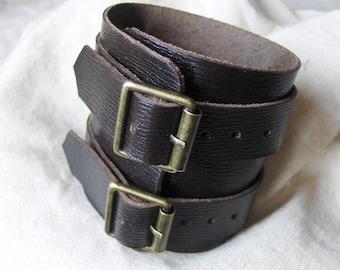 Handmade Ebony leather strength wide bracelet