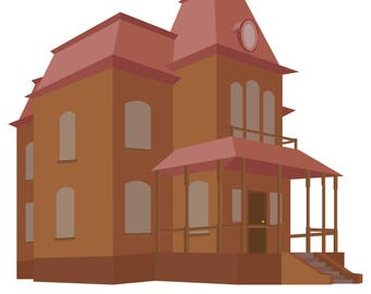 Minimalist Flat Bates Motel Illustration