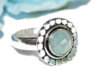 Round silver and blue chalcedony 925 Silver ring - size 56