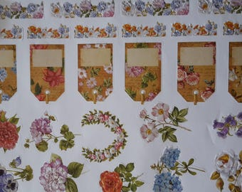 Flowers and tags stickers decals