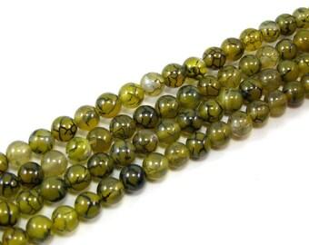 Beads 6 mm set green dragon vein agate 8