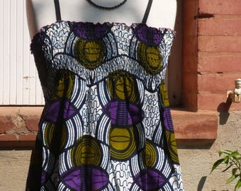 Smocked top in khaki/purple African fabric, size 38