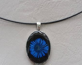Round neck + small oval, resin and dark blue daisy dried flower pendant