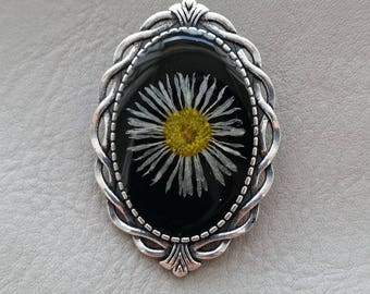 Brooch Retro oval resin and dried Daisy flower