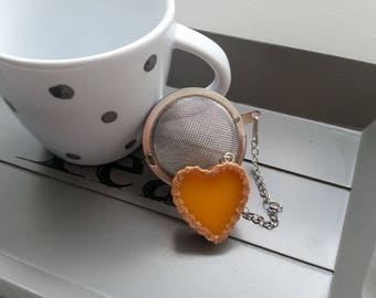 Ball tea Infuser teaspoon, stainless steel, resin heart Lemon tart