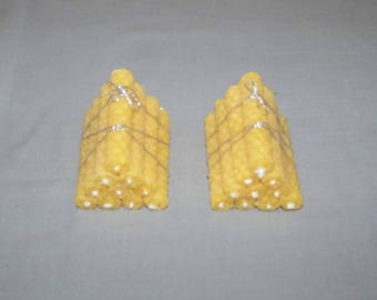 2 sets of 10 natural embossed pure Beeswax candles